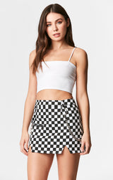 Carmar Denim: CHECKERED SKIRT WITH CHAIN - IMPORT SKIRT