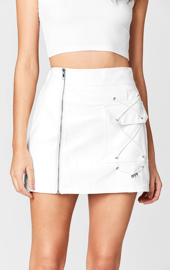 MAGS & PYE VINYL SIDE ZIP CARGO SKIRT