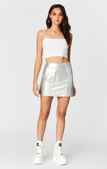 METALLIC SILVER CARGO POCKET SKIRT