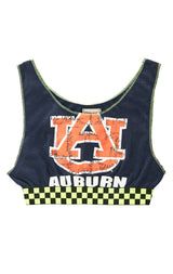 NEON CHECKERED CONTRAST CROP TANK