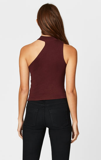 CUT OUT SHOULDER SLEEVELESS SWEATER