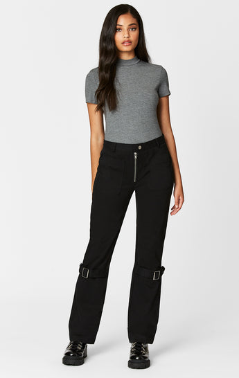 ZIP FRONT PANT WITH BUCKLE STRAP LEGS