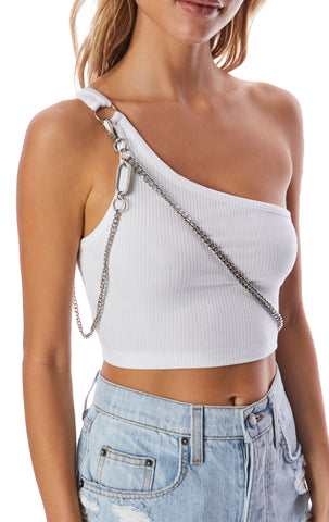 ONE SHOULDER TANK WITH CROSSBODY CHAIN