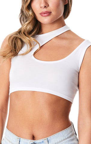 SHOULDER CUT OUT CROP TANK