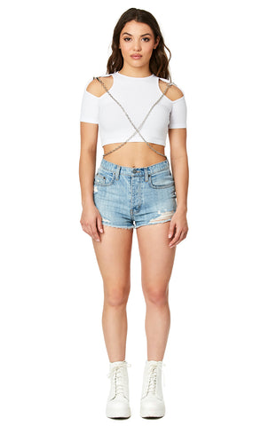 CROSS CHAIN CUT OUT SHOULDER TEE
