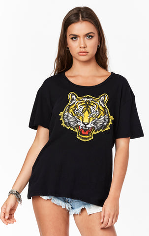 SHORT SLEEVE TEE WITH TIGER APPLIQUE