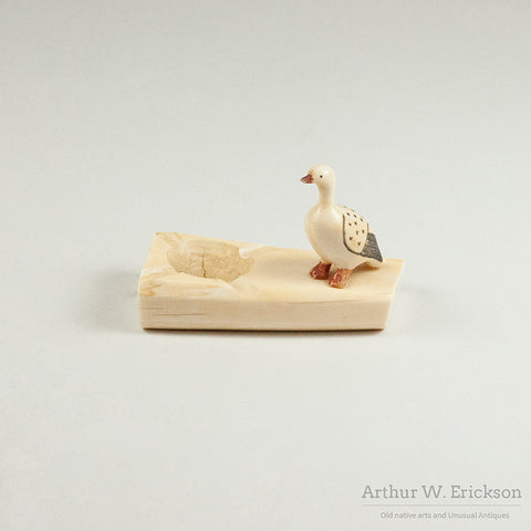 Eskimo Carved Walrus Ivory Ash Tray with Scrimshawed Goose