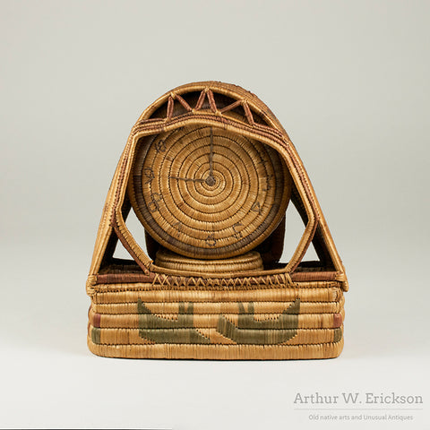 Eskimo Folk Art Basketry Clock