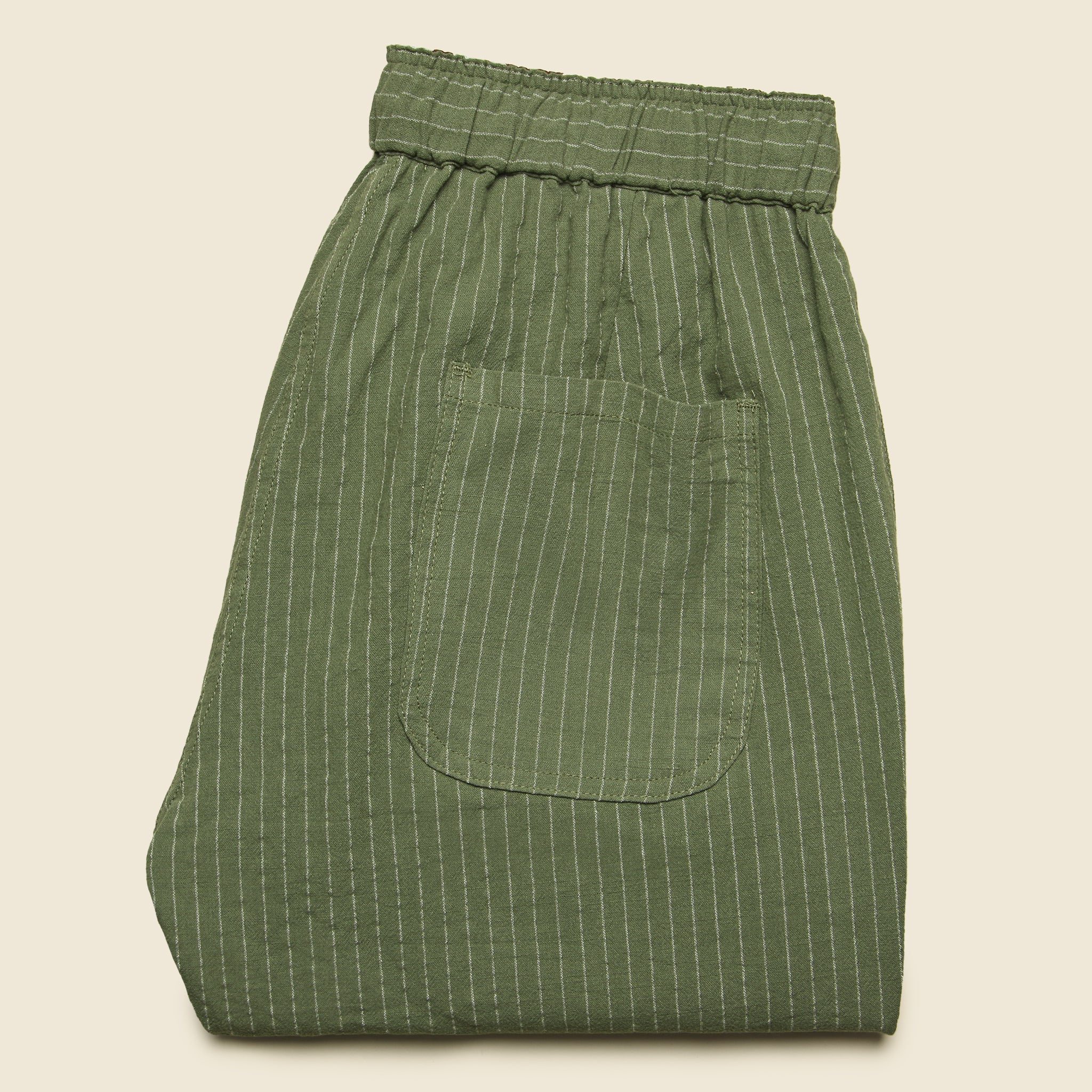 Clipper Drawstring Pant - Olive Pinstripe