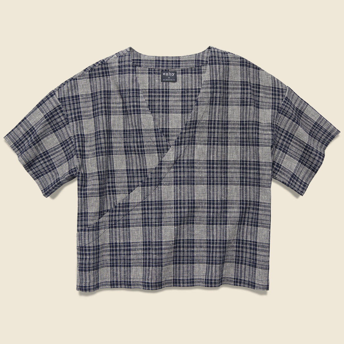 Esby Naomi Boxy Top - Navy/Natural Plaid