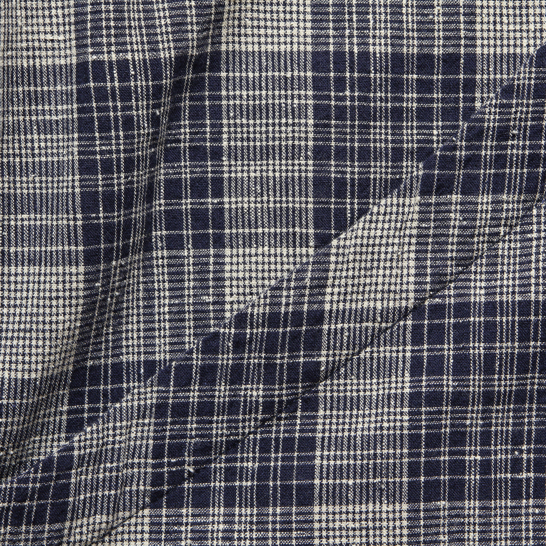 Naomi Boxy Top - Navy/Natural Plaid