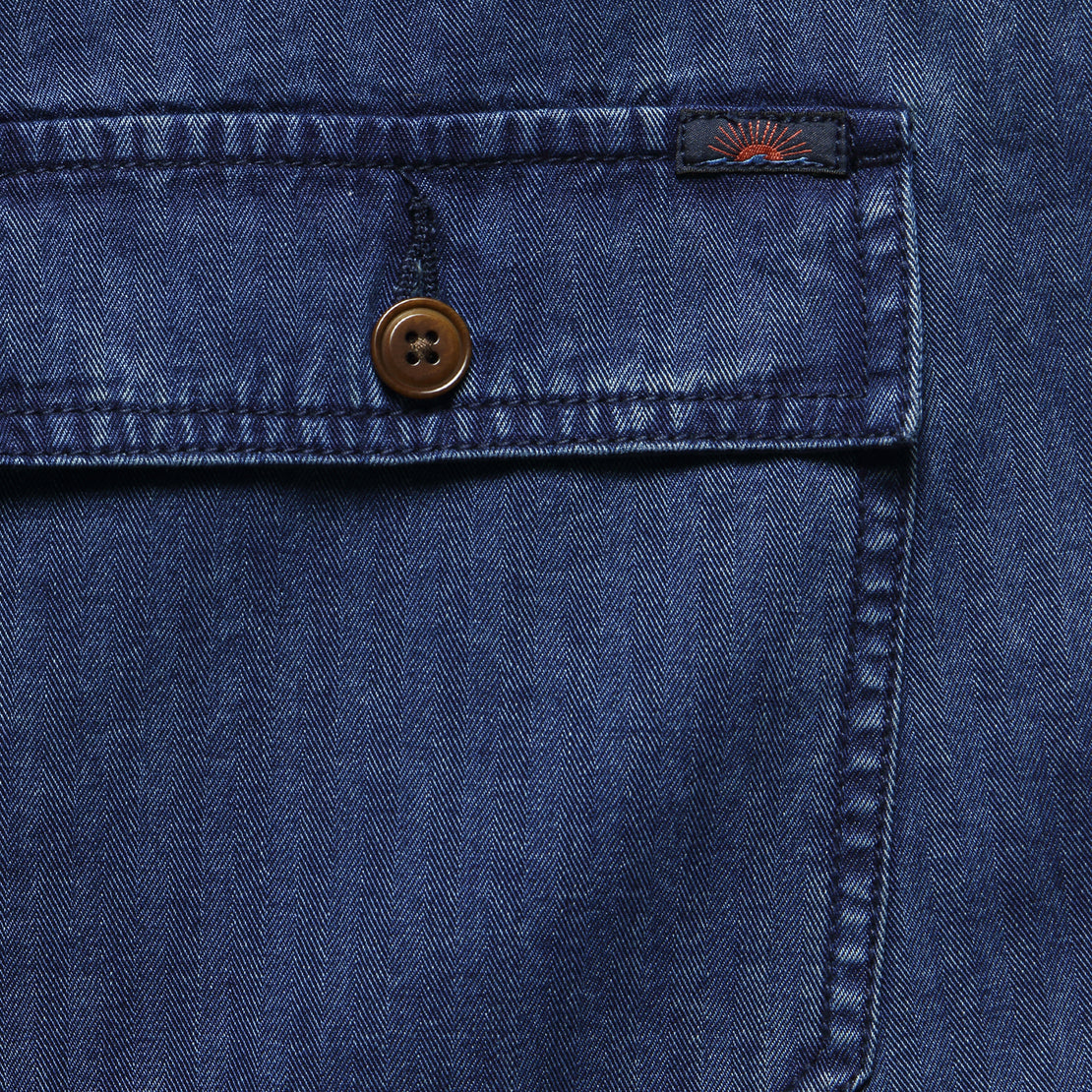 Camp Short - Washed Indigo Herringbone