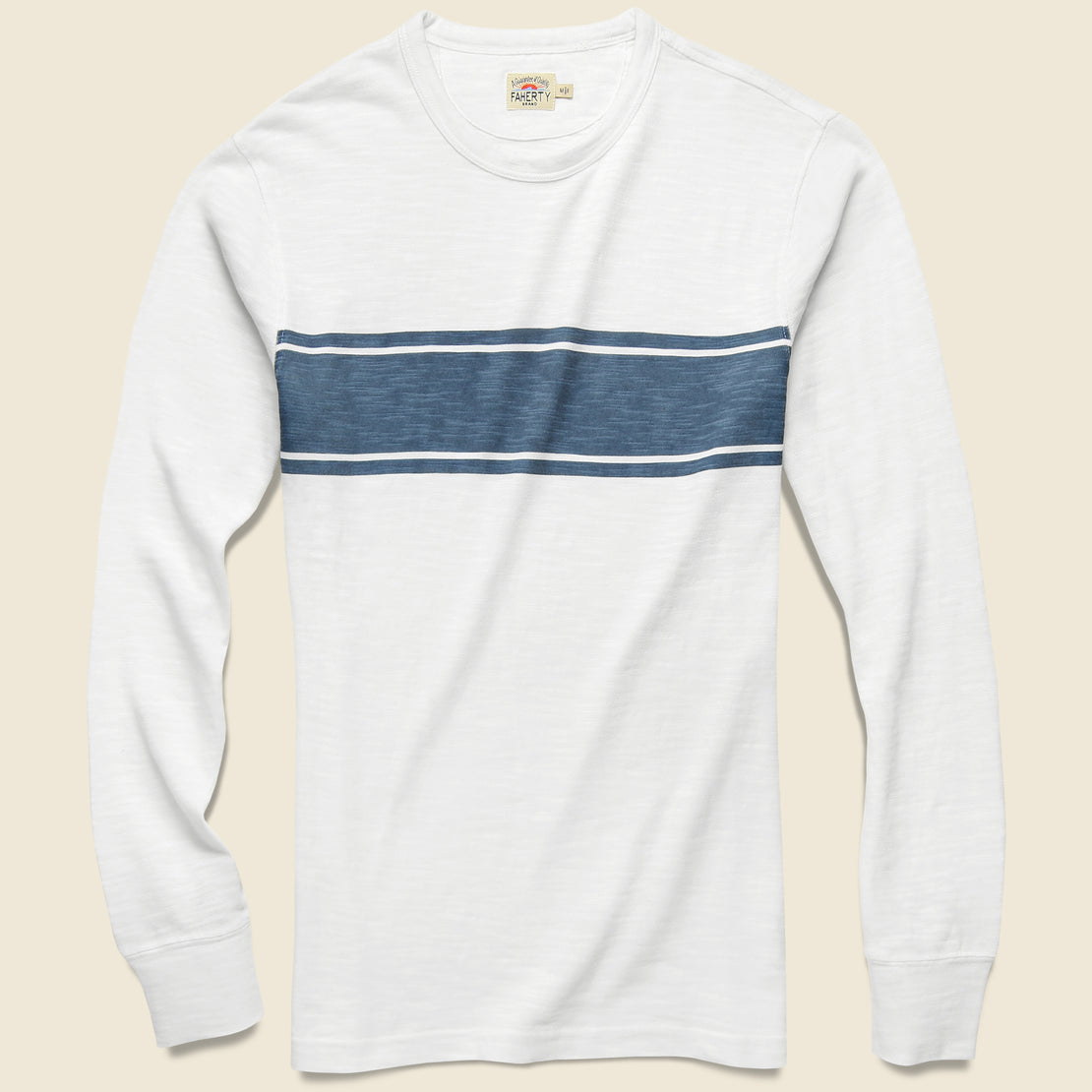 Faherty Surf Stripe Tee - White/Blue