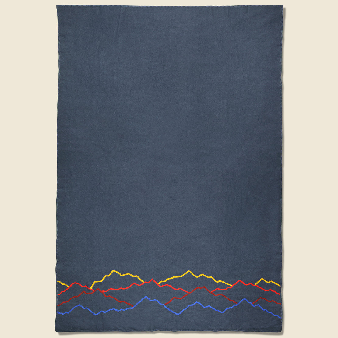Fort Lonesome Mountain Landscape Large Wool Blanket - Navy