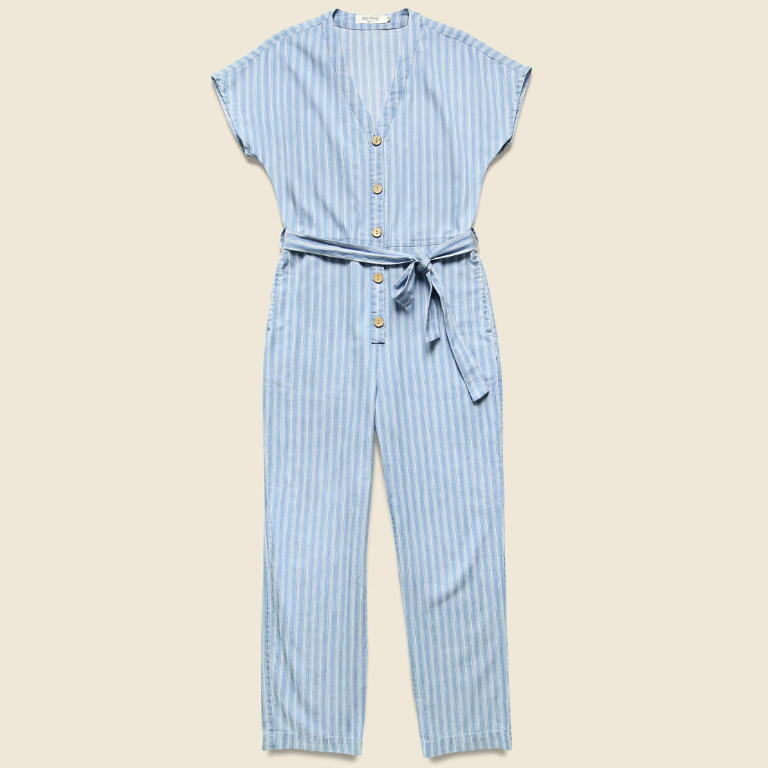 Nice Things Striped Denim Jumpsuit - Blue