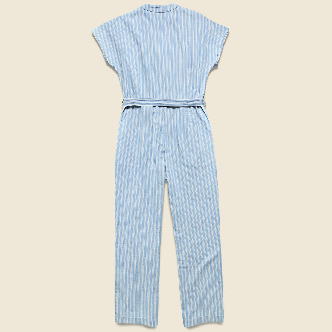 Striped Denim Jumpsuit - Blue