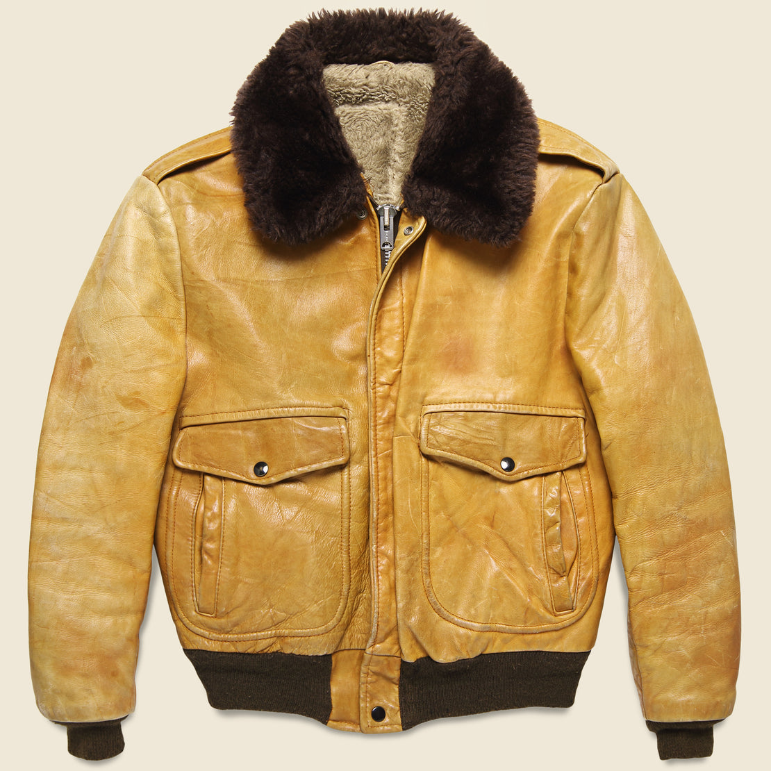 Vintage Sherpa-Lined Leather Bomber Jacket