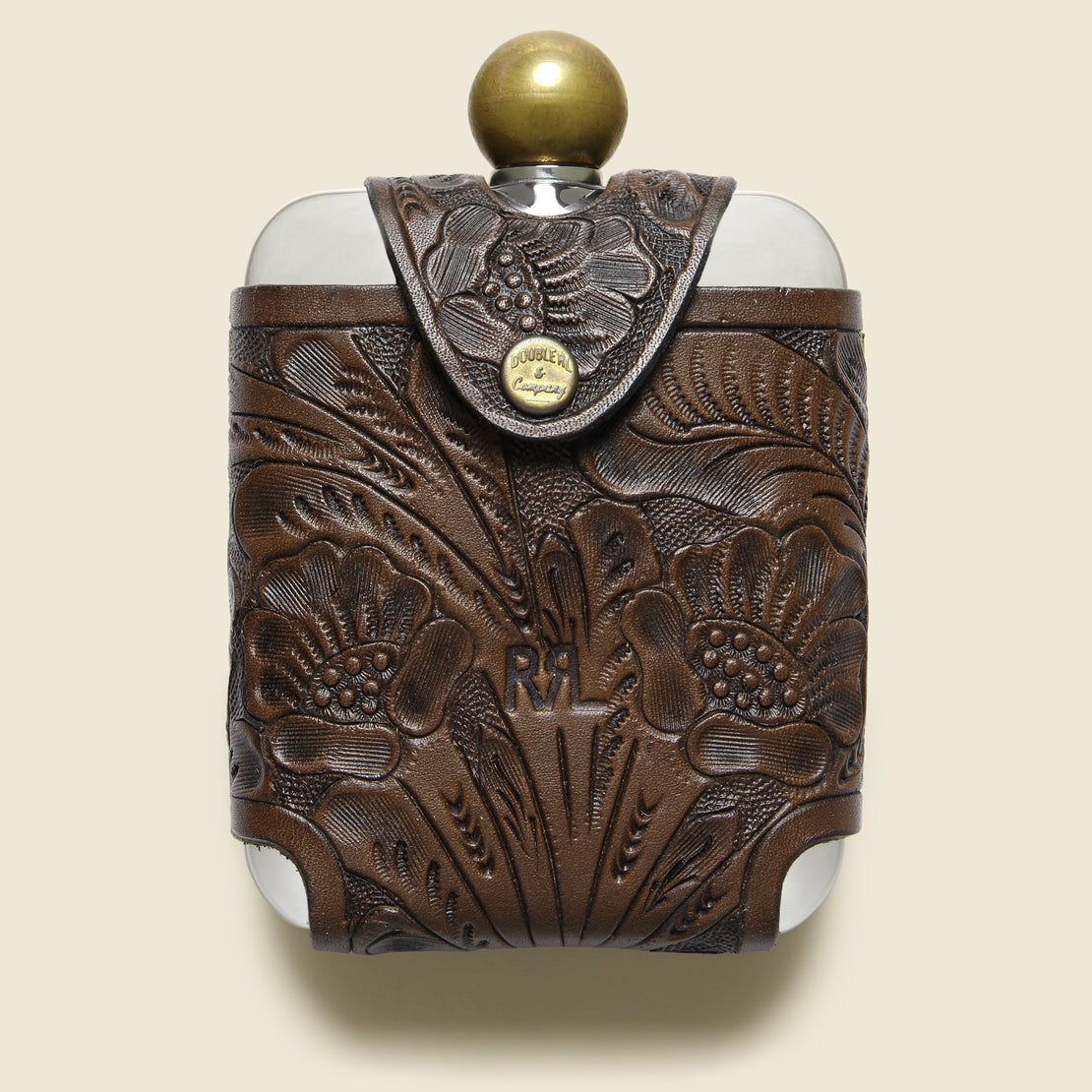 RRL Tooled Leather Hip Flask - Brown