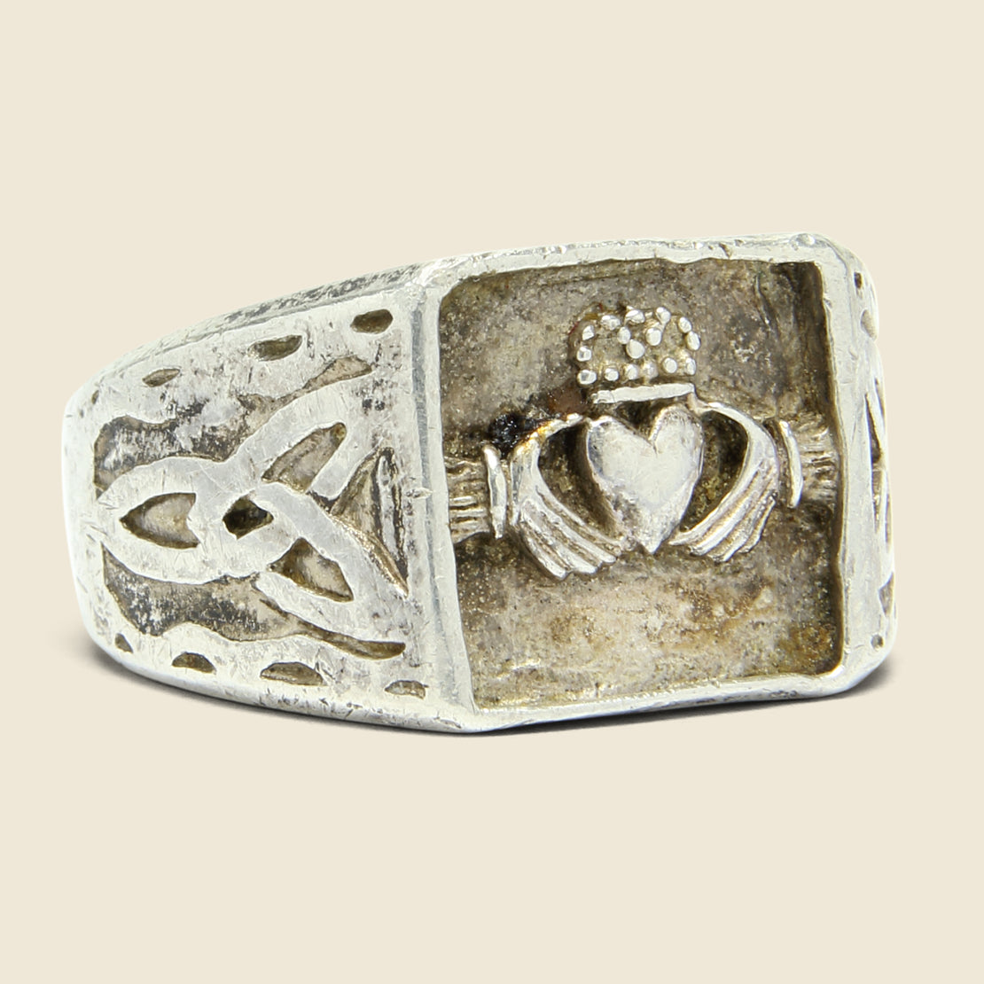 Vintage Claddagh & Celtic Knot Signet Ring - Sterling Silver
