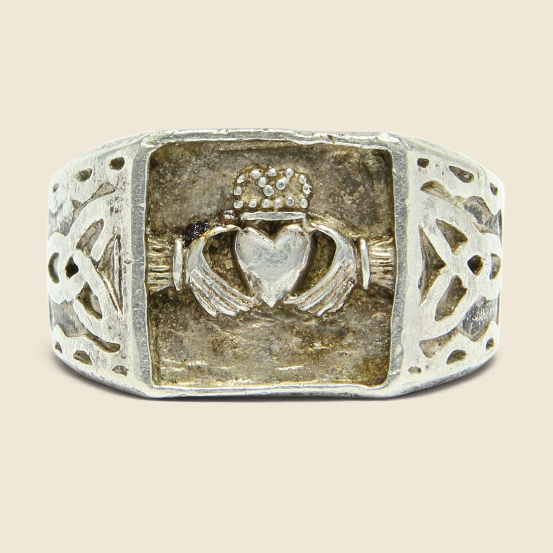Claddagh & Celtic Knot Signet Ring - Sterling Silver
