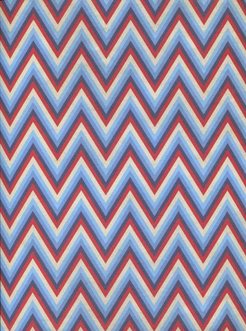 Printed Red Blue White Chevron Stripes Backdrop - 2324