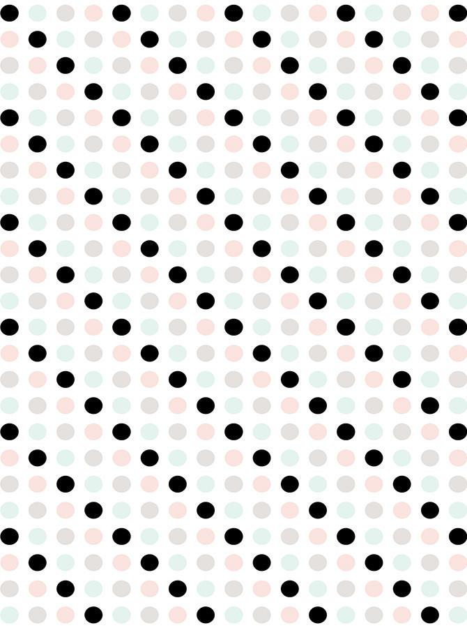 Black And Pastel Polka Dot On White Printed Backdrop - 6166 - DropPlace