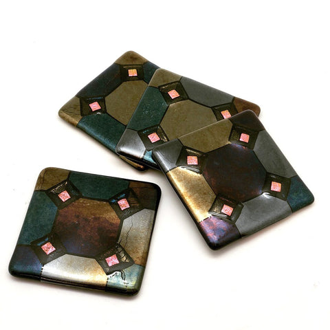 Harlequin Coasters with Pink Diamond