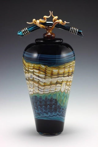 Black Opal Covered Jar with Bone & Tendril Finial