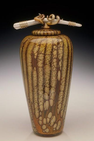 Batik Covered Jar with Bone & Tendril Finial