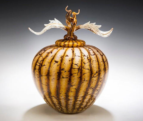 Batik Covered Sphere with Avian Finial