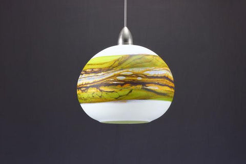 Round Strata Pendant in White Opal with Lime