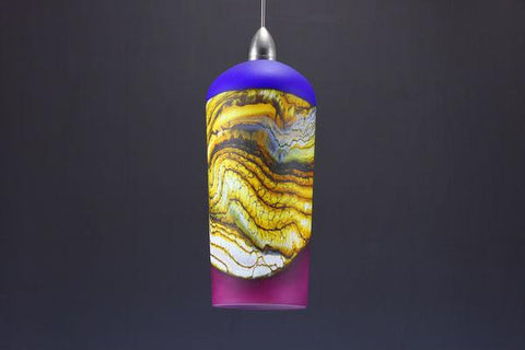 Cylindrical Strata Pendant in Cobalt & Red Amethyst