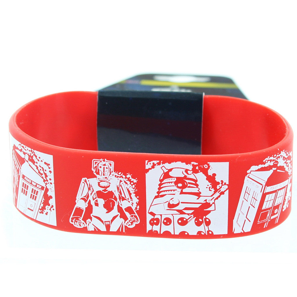 Doctor Who Rubber Wristband Comic Strip Red -  -  Little British Shop