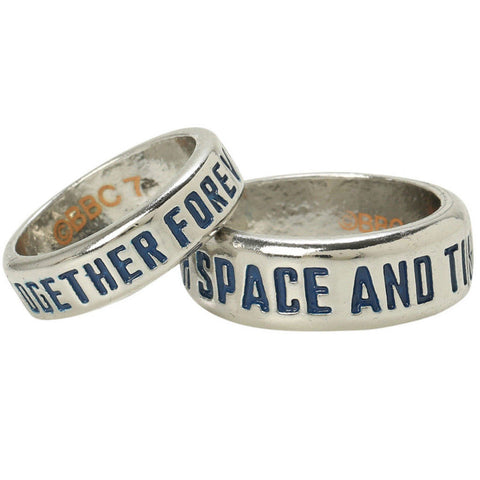 "BBC Doctor Who TARDIS Couples Ring Set ""Together Forever"" & ""Through Space & Time"" -  -  Little British Shop - 1"