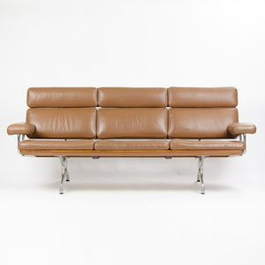 Brown Leather Eames Herman Miller Three Seater Sofa in Walnut