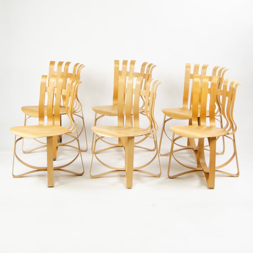 1990's Frank Gehry for Knoll Hat Trick Dining Side Chairs Maple Set of Six