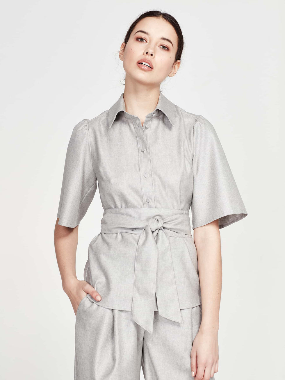 Jane Shirt (Wool Silk Suiting) Silver
