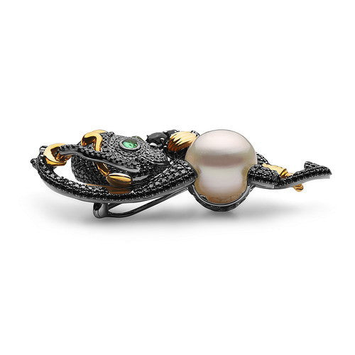 13-14mm Natural Color White South Sea Pearl, Diamond, Amethyst Monkey Pin