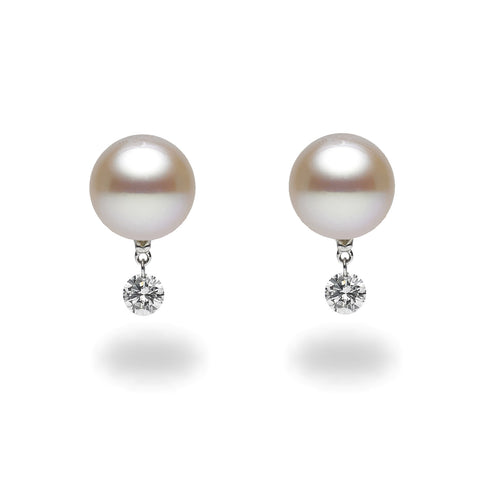 Dancing Diamond™ Collection 10-11mm Freshwater Pearl and Diamond Earrings