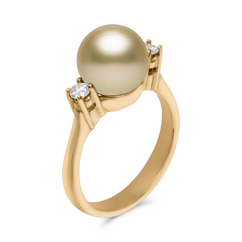Classic Collection 18k 9-10mm Gold South Sea Cultured Pearl and Diamond Ring