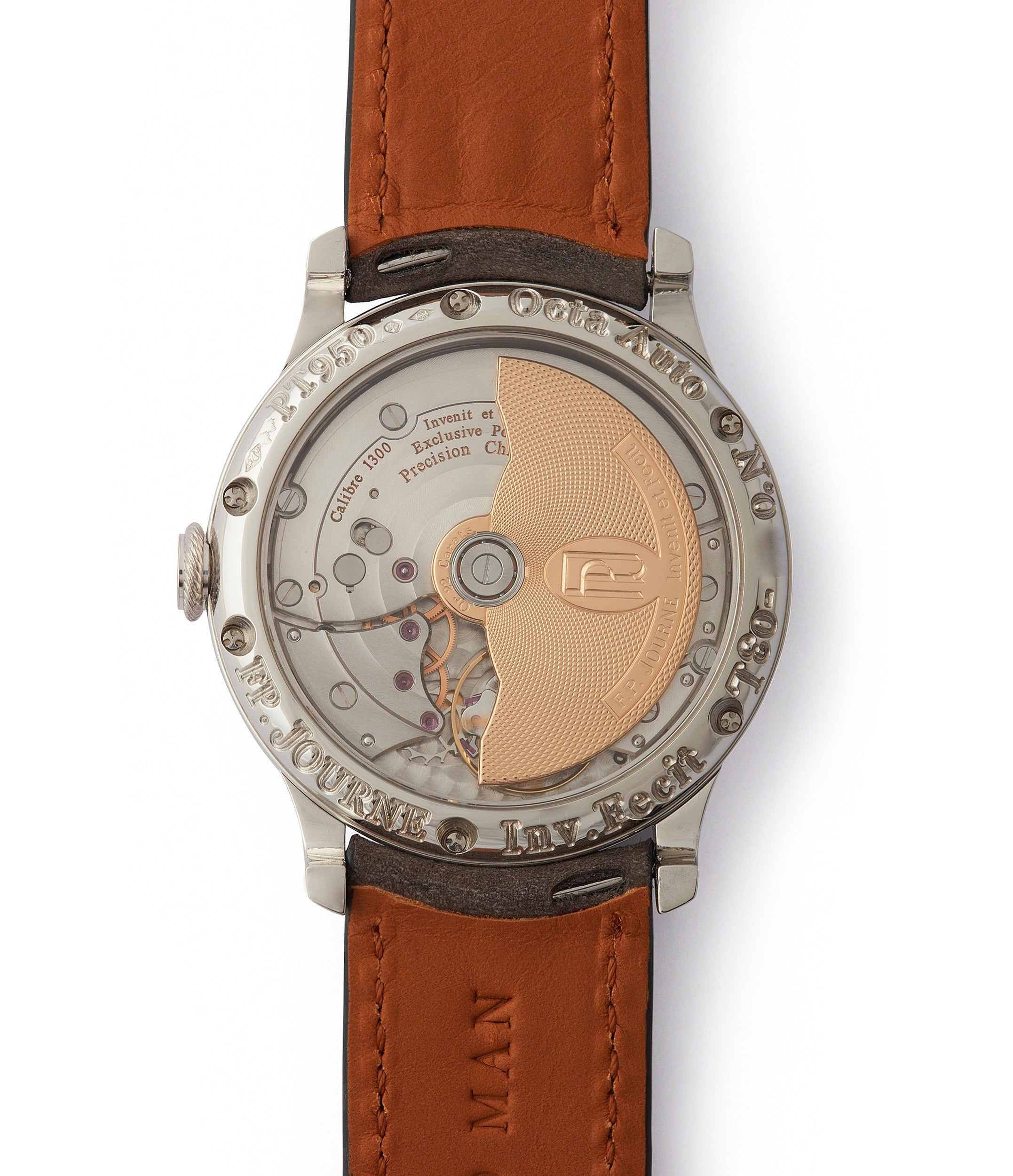 brass movement early F. P. Journe Octa Lune 38mm platinum independent watchmaker for sale online at A Collected Man London