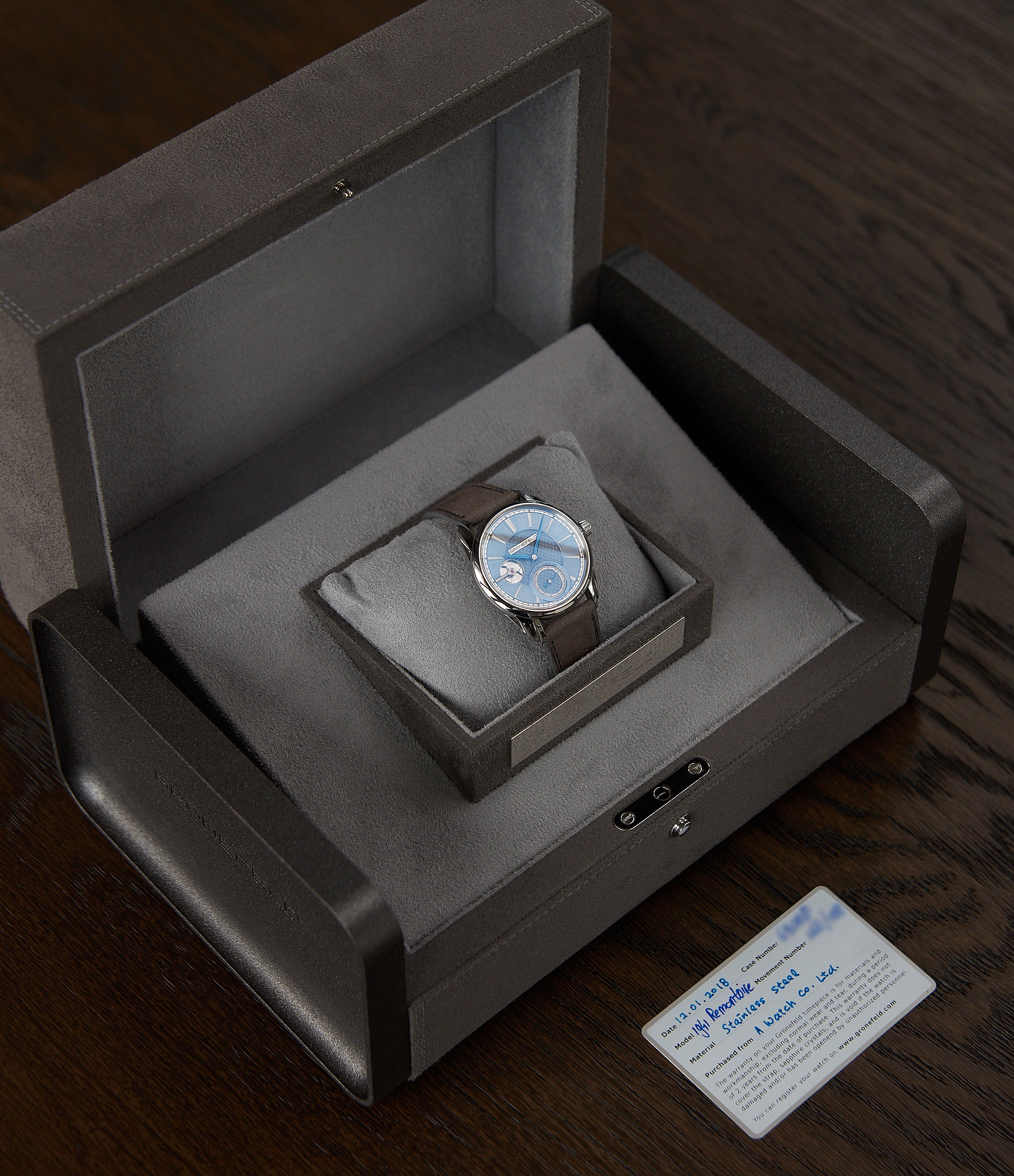 pre-owned full set Gronefeld 1941 Remontoire light blue Voutilainen dial eight seconds remontoire time-only dress watch for sale online at A Collected Man London UK specialist of independent watchmakers