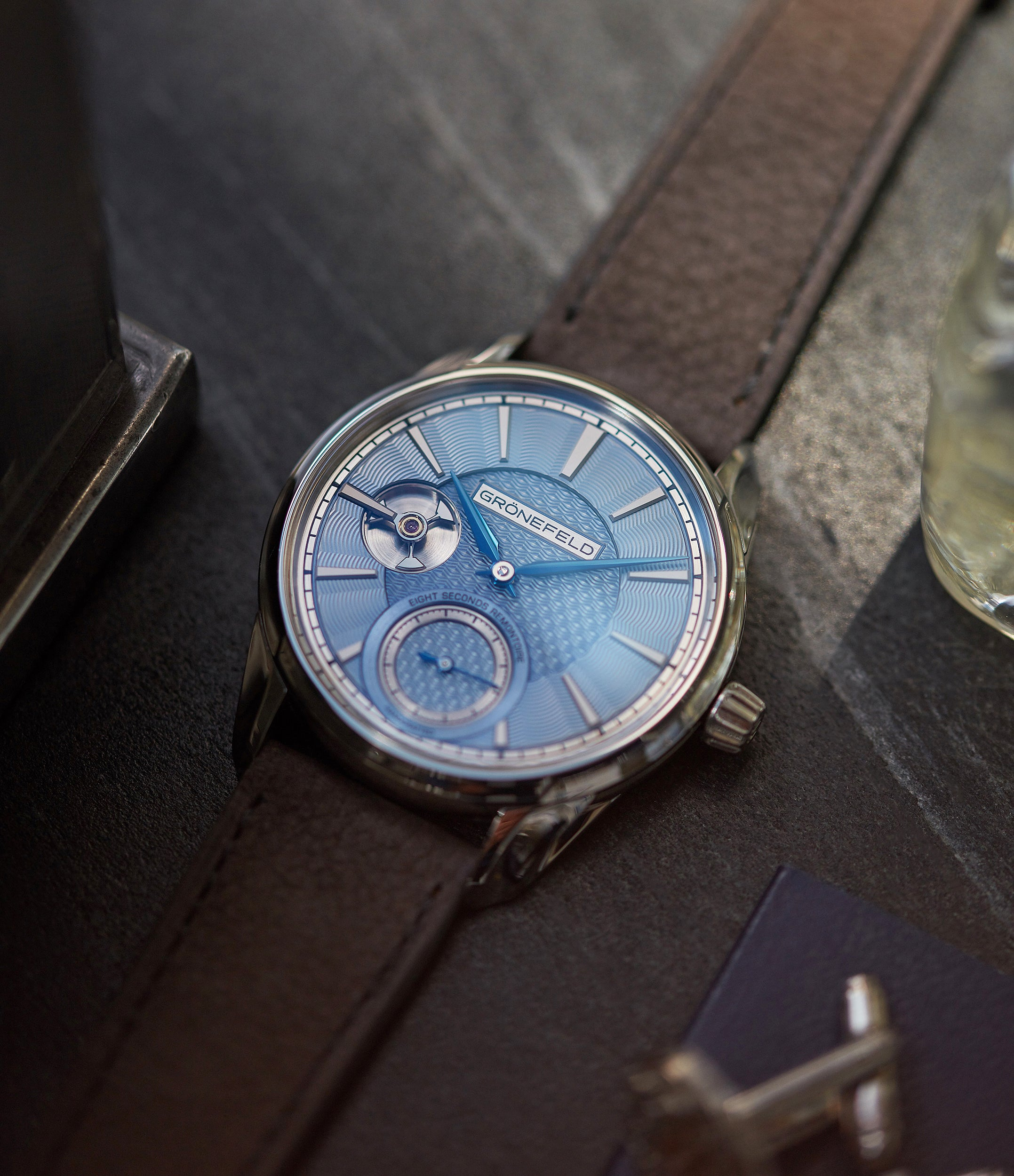 shop pre-owned Grönefeld 1941 Remontoire light blue Voutilainen dial eight seconds remontoire time-only dress watch for sale online at A Collected Man London UK specialist of independent watchmakers