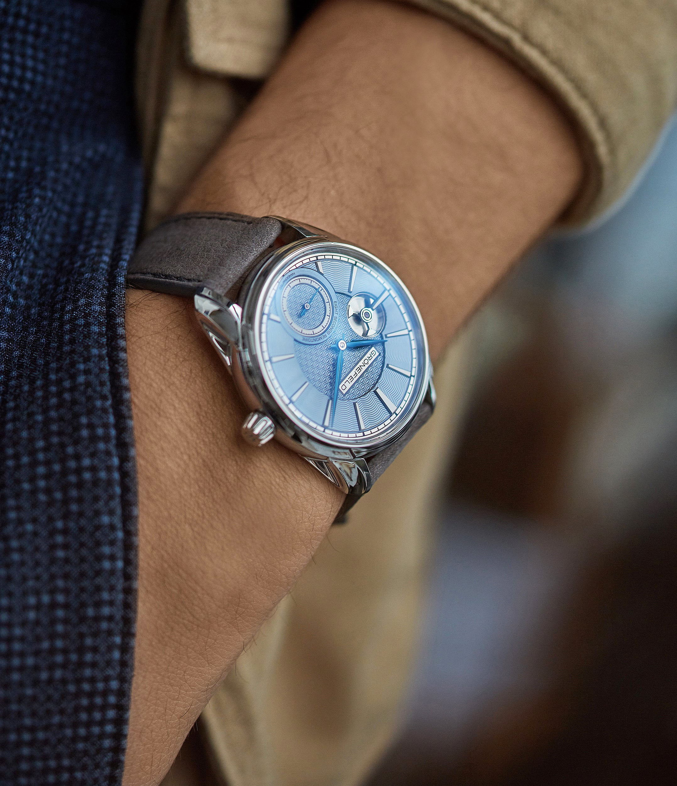 rare Grönefeld 1941 Remontoire light blue Voutilainen dial eight seconds remontoire time-only dress watch for sale online at A Collected Man London UK specialist of independent watchmakers