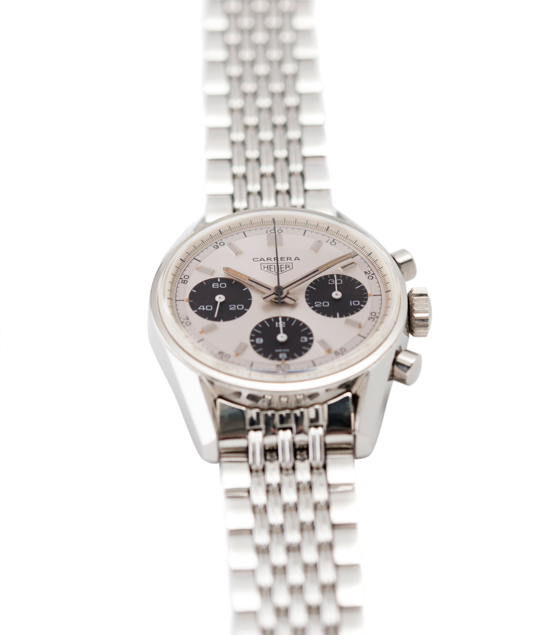 for sale vintage Heuer Carrera 2447SND panda dial steel sport watch online at A Collected Man London UK specialist of rare vintage watches