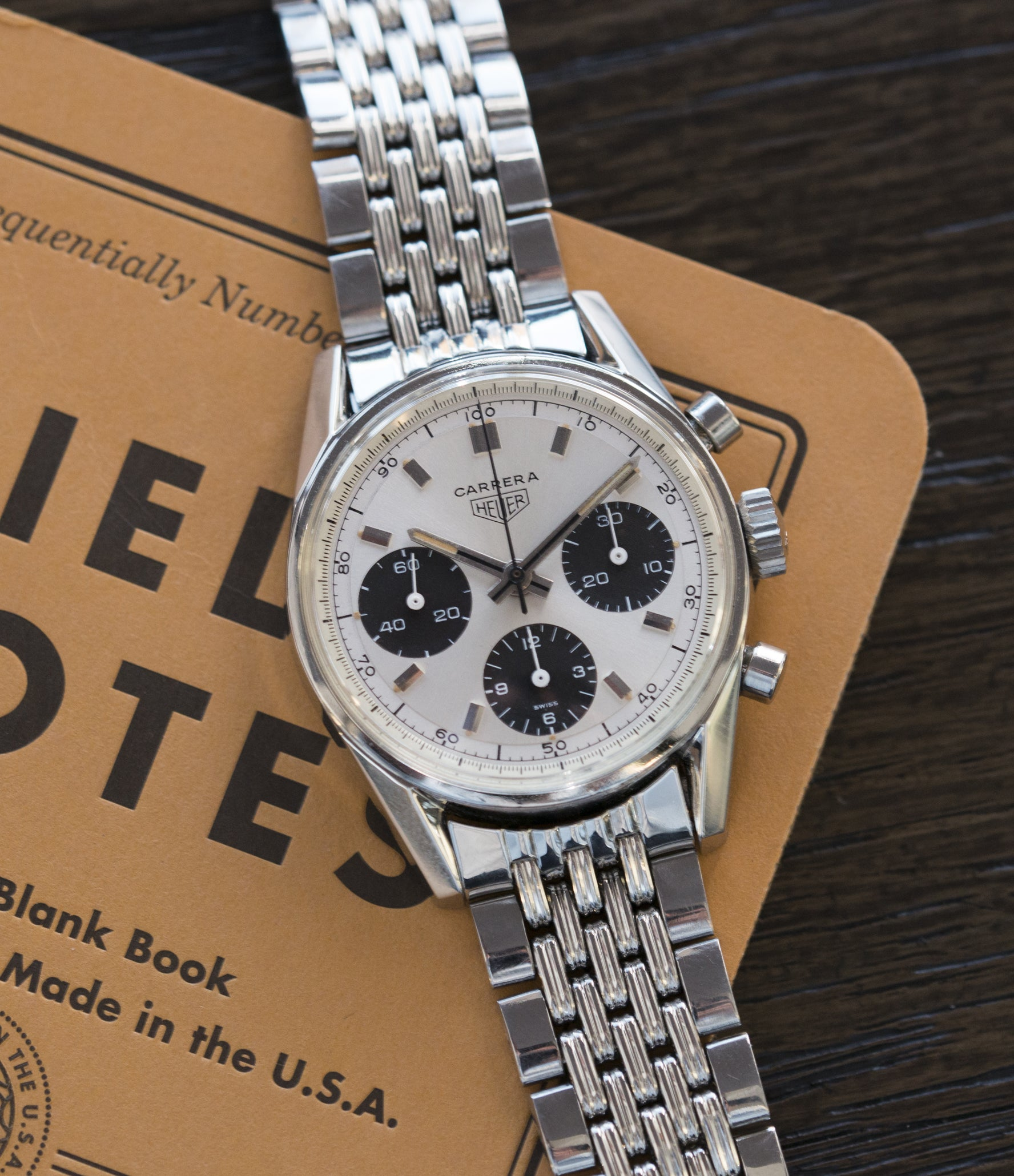 silver black dial vintage sports wristwatch Heuer Carrera 2447SND panda dial steel sport watch online at A Collected Man London UK specialist of rare vintage watches