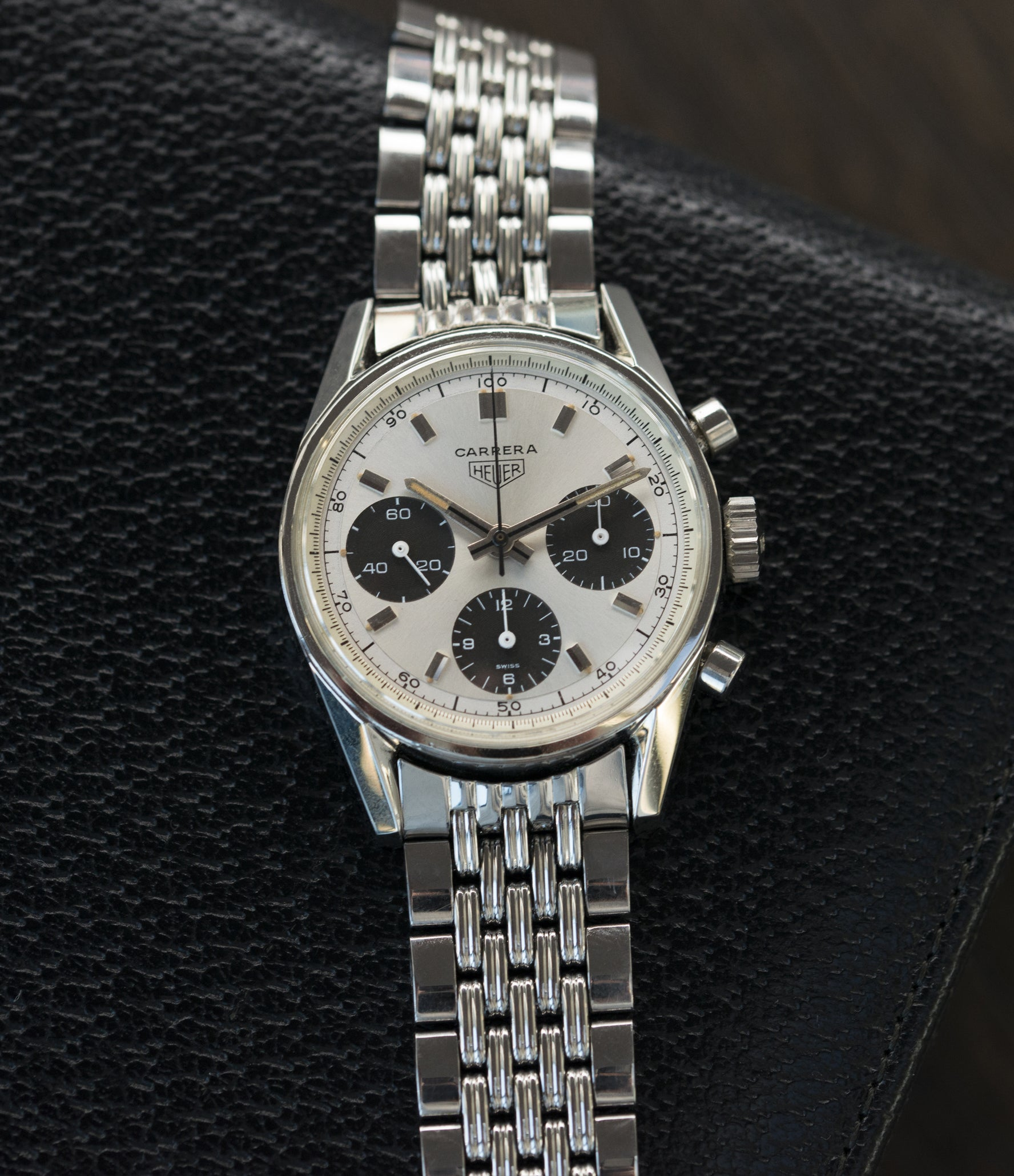 sell vintage Heuer Carrera 2447SND panda dial steel sport watch online at A Collected Man London UK specialist of rare vintage watches