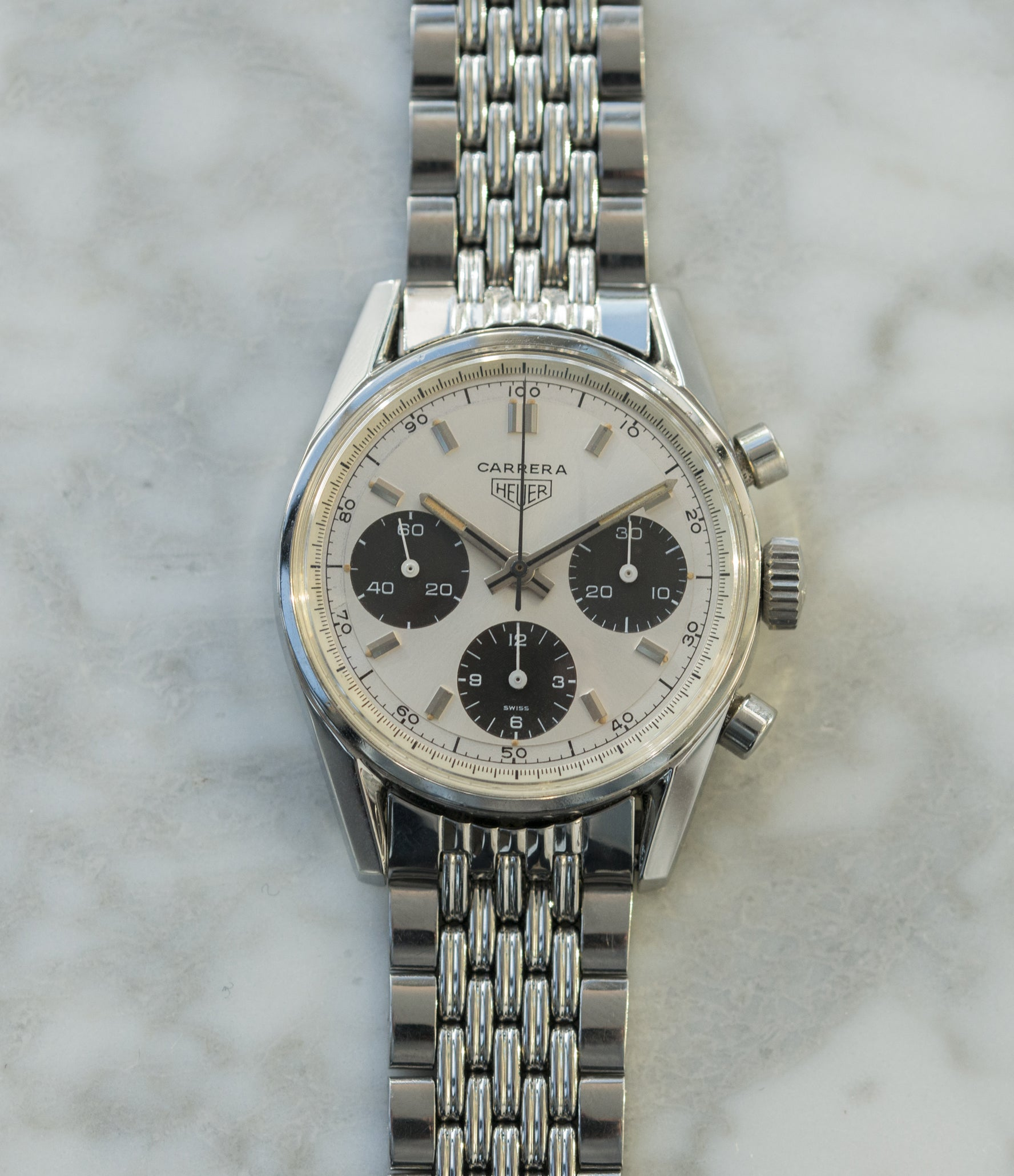 vintage steel chronograph Heuer Carrera 2447SND vintage steel sport watch panda dial buy online at A Collected Man London UK specialist of rare vintage watches