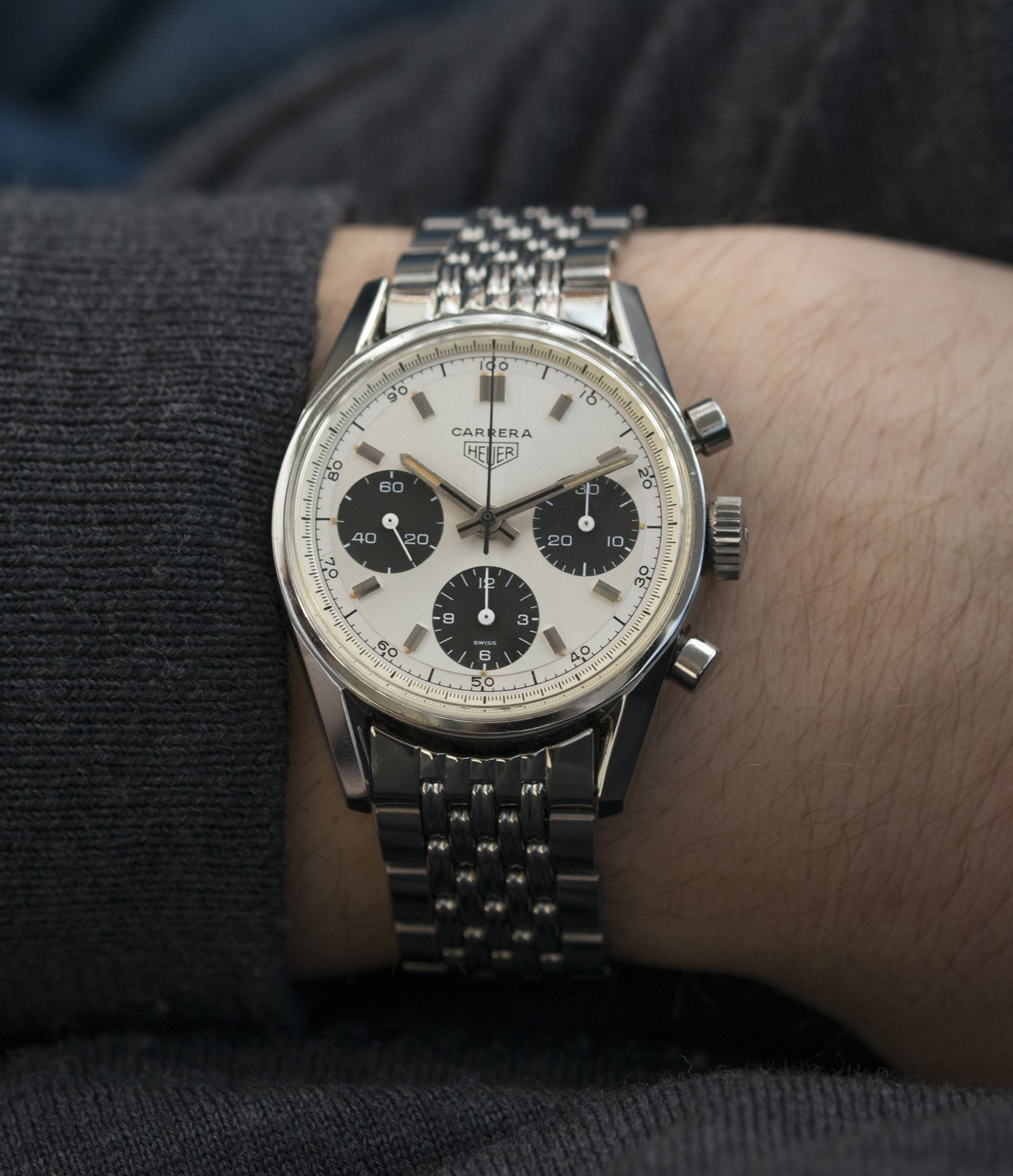 Heuer Carrera 2447SND panda dial steel sport wristwatch buy online at A Collected Man London UK specialist of rare vintage watches