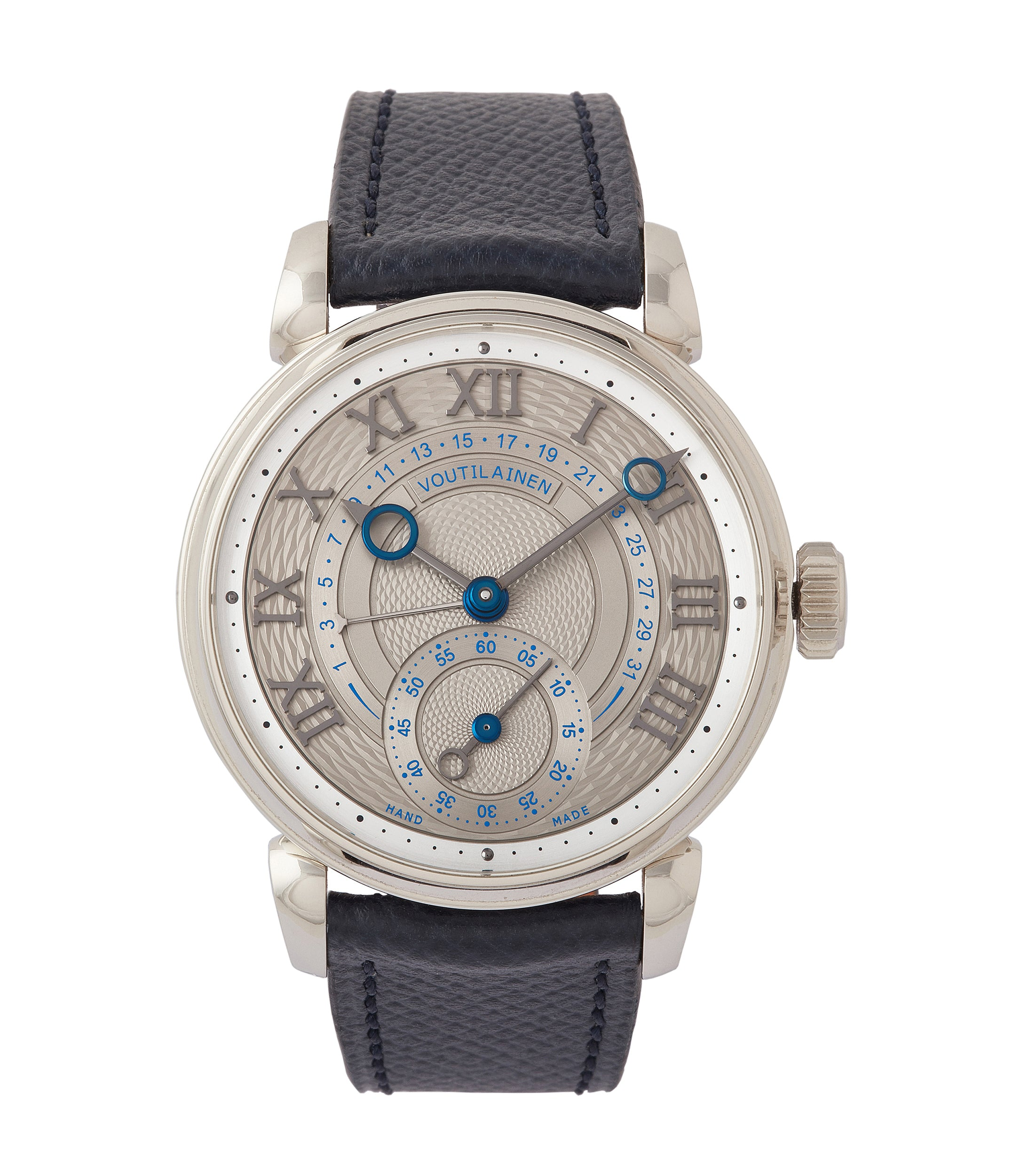 buy Voutilainen 217QRS Retrograde Date platinum dress watch for sale online at A Collected Man London approved re-seller of independent watchmakers